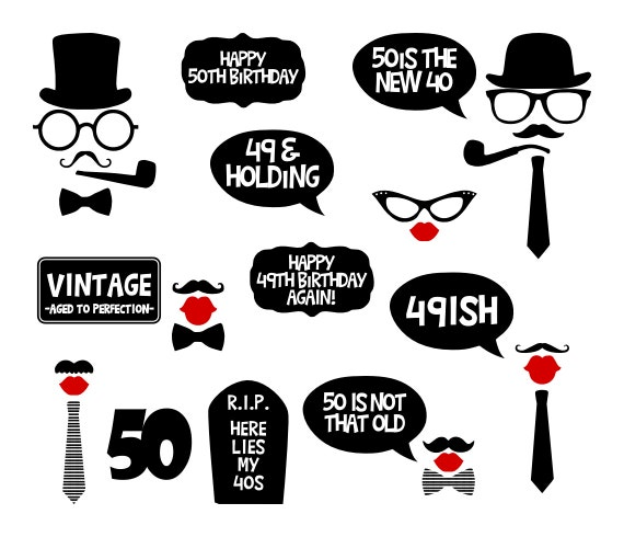 50th Birthday Party Printable Photo Booth Props Black