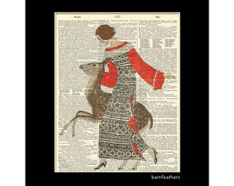 Woman with Deer - Dictionary Art - Vintage Dictionary Art Print - Book Page Art Print - Home Decor No. P229