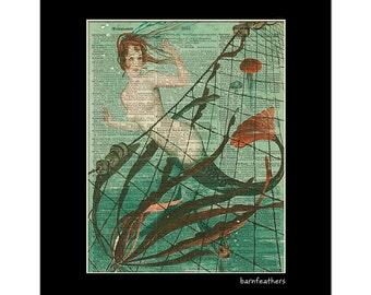 Vintage Mermaid - Dictionary Art Print - Vintage Illustration - Book Page Art Print No. P526