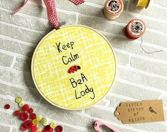 Machine Embroidery Design, Wall Art, Freehand Embroidery, Hoop Wall Hanging, Keep Calm, Ladybird, Gift for Women, Bedroom Decor