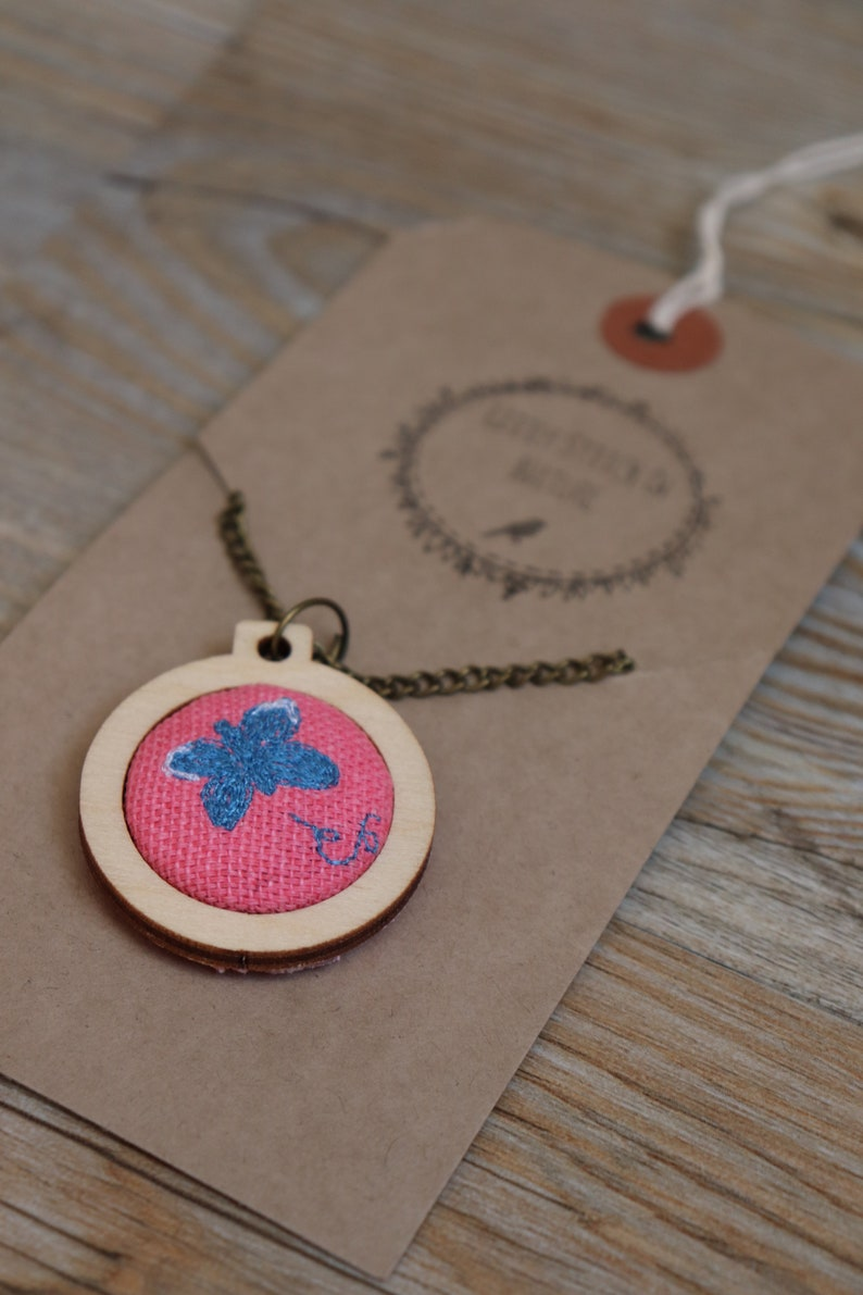 Gift for Women Butterfly Necklace Butterfly Gifts Blue Butterfly Valentines Gift Gift for Girlfriend Summer Jewellery Pink Necklace