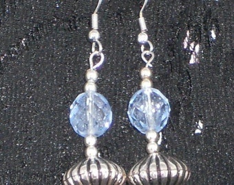 Crystal blue and Silver Earrings