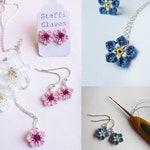 Micro crochet Forget me not and cherry blossom jewellery pattern, crochet flower making tutorial, crochet PDF pattern digital download