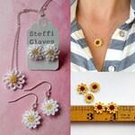 Micro crochet daisy and sunflower jewellery pattern, crochet flower making tutorial, crochet PDF pattern digital download