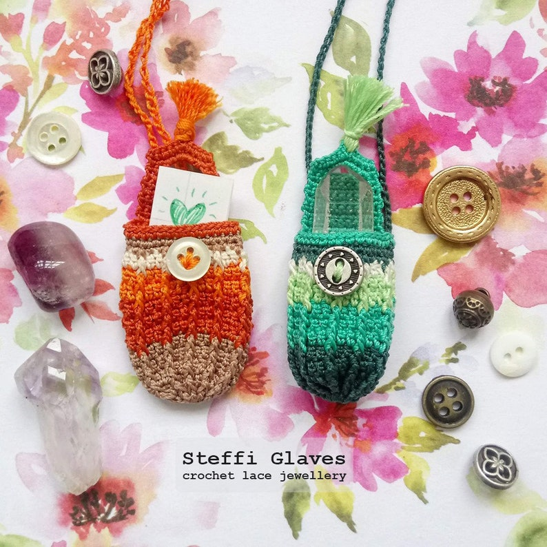 PDF download tiny crochet handbag boho festival necklace easy crochet bag tutorial Crochet bag pendant pattern crochet keepsake DIY