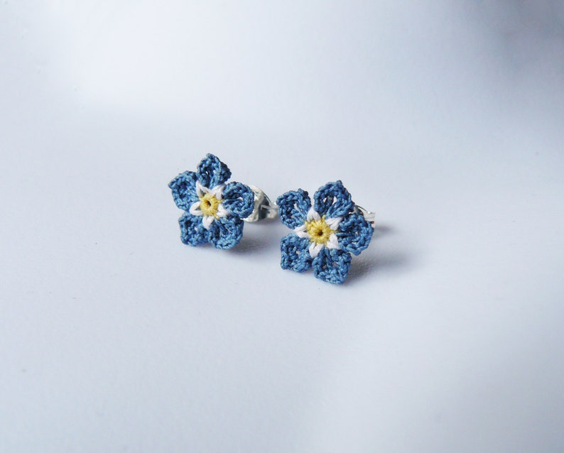 68fd40b1f317b Crochet Forget Me Not Ear Studs - Blue Flower Ear Studs - Lace earrings -  tiny floral jewellery - Floral Wedding - Bridesmaid - Flower Girl
