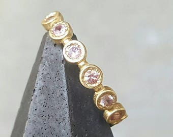 Pink sapphire ring- pink sapphire stacking ring-multiple sapphire ring- half infinity sapphire ring- yellow gold sapphire ring
