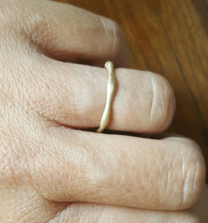 Organic gold band-wedding ring gold ring-gold ring-plain gold band-unisex gold ring-recycled gold band-wavy weddong ring