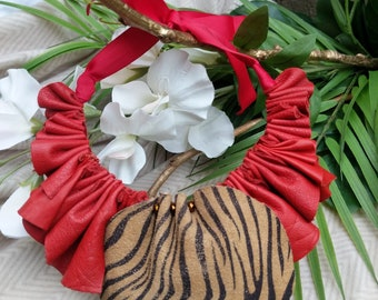OOAK Red leather hide ruffle Bib/Collar necklace with tiger print