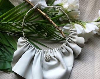 OOKA Off white/grey ruffles Bib/Collar leather necklace
