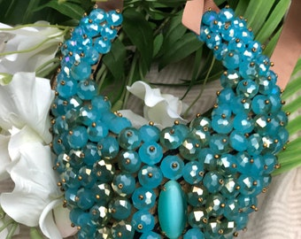 OOKA Opal blue opal Bib/Collar Statement Necklace on leather hide