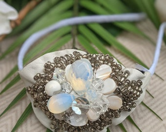 White OOAK Leather headband with a cluster of semi precious stones and glass beads
