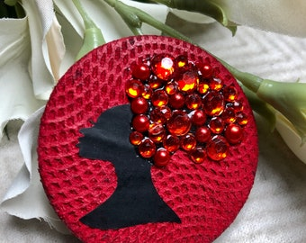 New handmade Red Afro silhouette - on spyder leather skin embellished with rhinestones