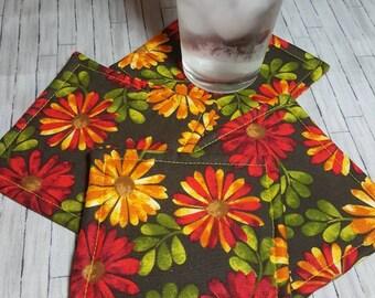 FALL AUTUMN FLOWERS Set of 4 Fabric Coasters