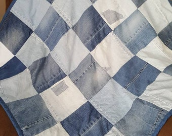 RECYCLED JEANS QUILT, Denim, Blue Jeans, Bedding, Lap Quilt, Throw Quilt