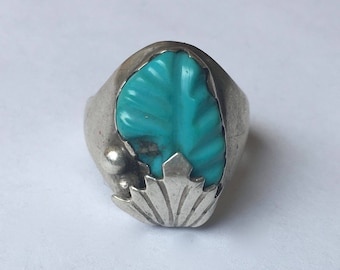 carved turquoise and sterling leaf ring, size 7.5