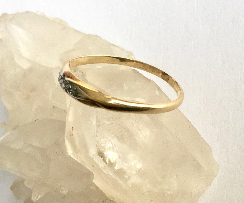 vintage two gold 14k diamond band size 6.75