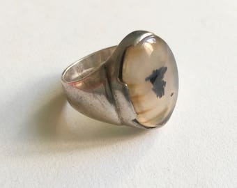 vintage men's moss agate and sterling ring, size 10.5