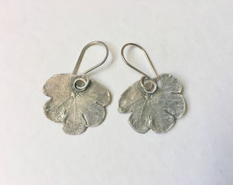 new artisan sterling leaf earrings, small mashua
