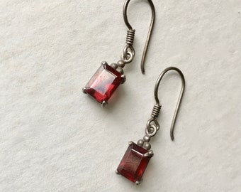 small sterling and red stone dangle earrings