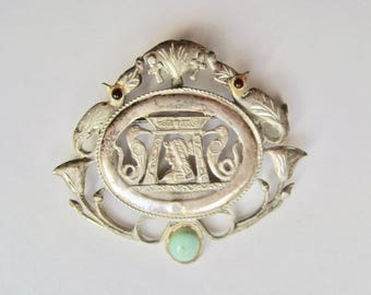 old silver egyptian revival brooch/pendant