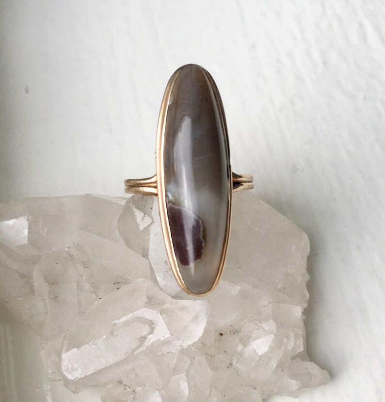 antique 10k gold and agate ring size 5