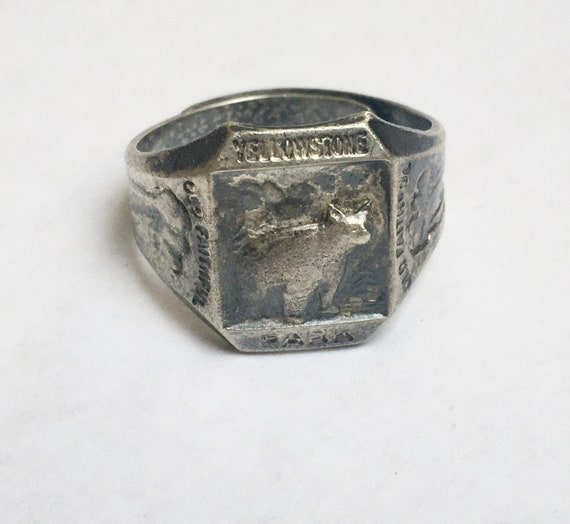 vintage sterling Yellowstone National Park ring, a