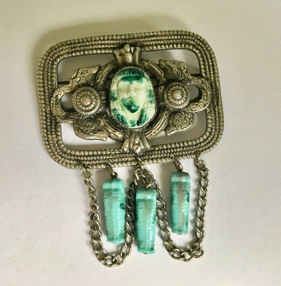 antique egyptian revival brooch, large