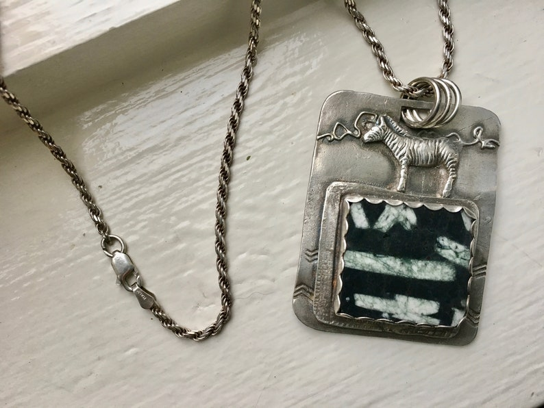 new Chinese writing stone and sterling pendant necklace