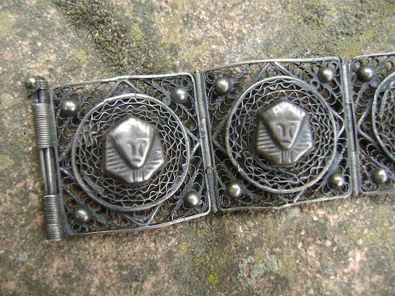 vintage sterling egyptian revival bracelet - image 4