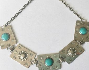 vintage art glass panel necklace
