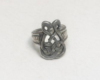 very vintage sterling celtic knot ring, adjustable