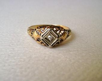 antique two tone diamond ring, 10k gold, size 6