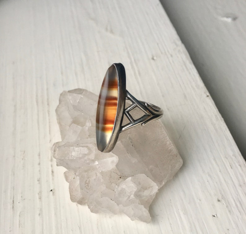 vintage sterling marquise agate ring size 5.75