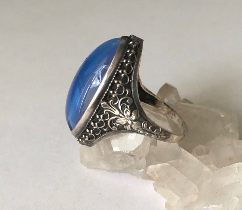 size 6.25 antique sterling and glass faux star sapphire ring