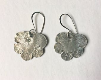new artisan sterling leaf earrings, mashua