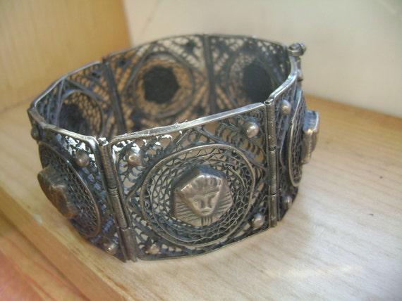 vintage sterling egyptian revival bracelet - image 2