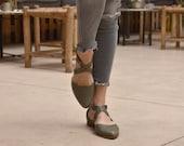 Summer sandals in green leather, Harper sandals.