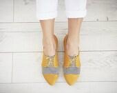 Yellow Pepita oxford shoes, Polly Jean