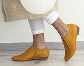 Yellow leather shoes, Grace , Handmade Oxford shoes