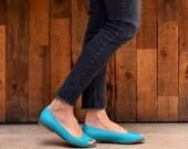 Turquoise open toe shoes, Mia