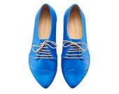 Casual blue womens oxfords, Polly jean.