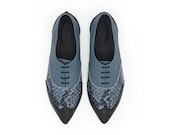 Pointed toe oxford shoes, Valerie blue