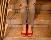 Red leather open toe shoes, Mia