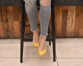 Yellow summer open toe shoes, Mia