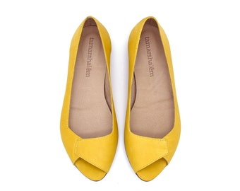 0c8ea6f366 Yellow leather flat summer shoes, Mia