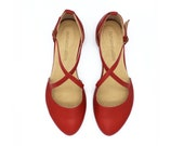 Red leather round toe flats, Camila.