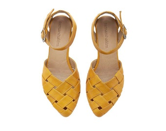 Yellow braided handmade Leather  flat Sandals / Sophie by Tamar Shalem