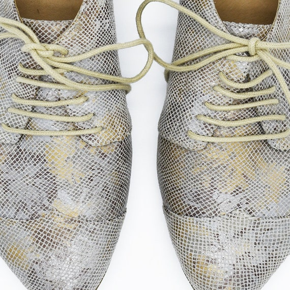 shoes print floral Polly shoes silver Metallic with oxford jean 6wqn7xvp