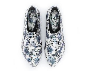 Vegan handmade floral shoes, floral oxford shoes, vegan Polly Jean by Tamar Shalem